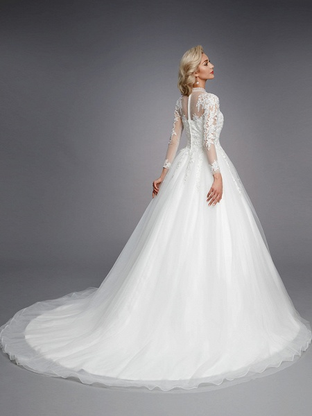 Ball Gown High Neck Court Train Lace Tulle Long Sleeve Romantic Plus Size Illusion Sleeve Wedding Dresses_7