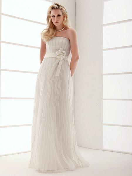 Sheath \ Column Wedding Dresses Strapless Floor Length Organza Sleeveless_5