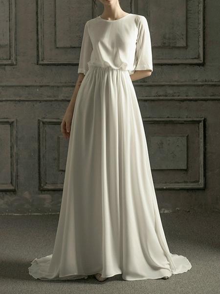 A-Line Wedding Dresses Jewel Neck Sweep \ Brush Train Chiffon Satin Half Sleeve Simple Elegant_1