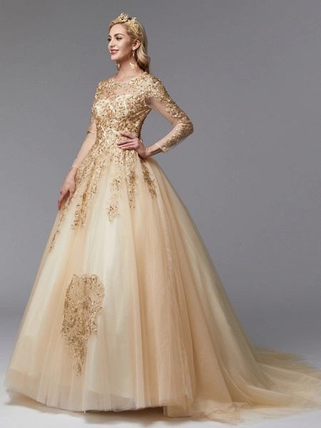 Ball Gown Wedding Dresses Jewel Neck Sweep \ Brush Train Lace Tulle Long Sleeve Glamorous See-Through Backless Modern_1