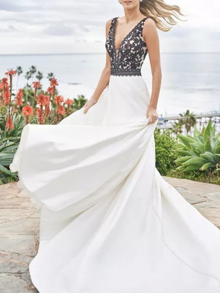 A-Line Wedding Dresses V Neck Sweep \ Brush Train Satin Sleeveless Beach Plus Size Black_1