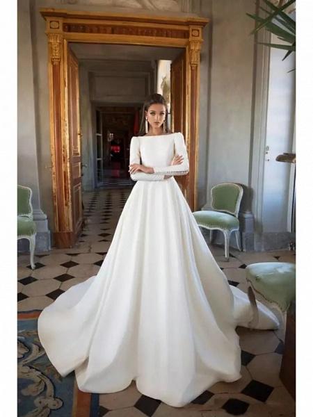 A-Line Wedding Dresses Bateau Neck Court Train Polyester Long Sleeve Simple Backless Elegant_1