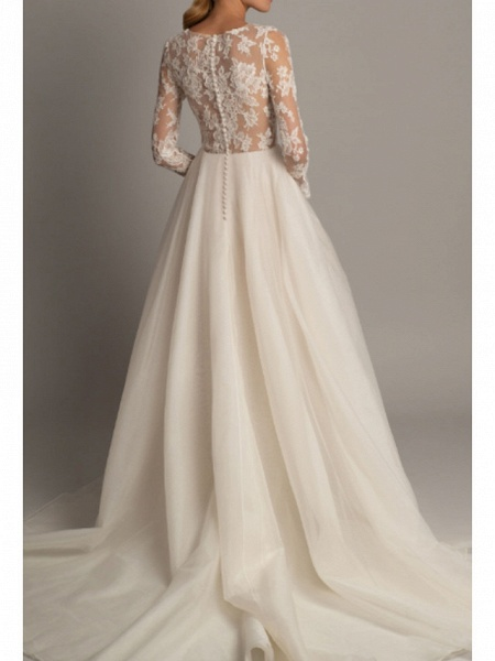 A-Line Wedding Dresses V Neck Court Train Lace Tulle Long Sleeve Romantic Sexy Backless Illusion Sleeve_2