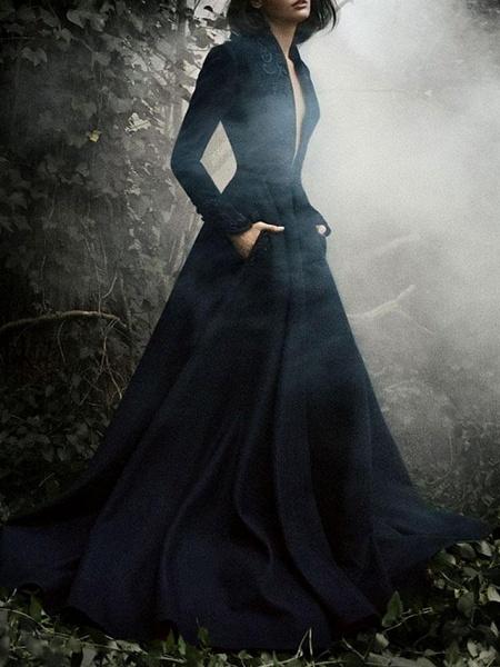 A-Line Wedding Dresses V Neck Sweep \ Brush Train Satin Long Sleeve Formal Plus Size Black_2