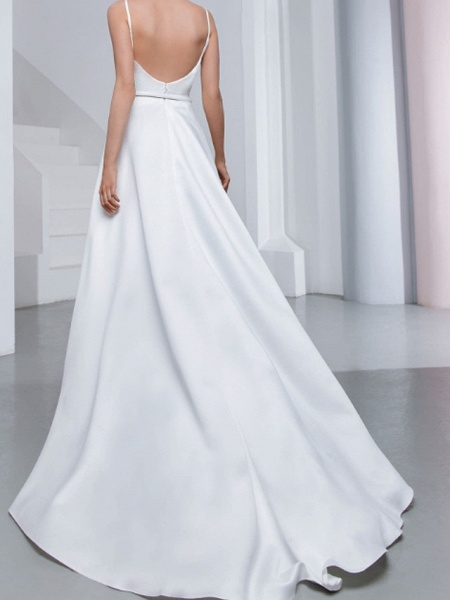 A-Line Wedding Dresses V Neck Spaghetti Strap Sweep \ Brush Train Chiffon Over Satin Sleeveless Country Sexy Plus Size_4