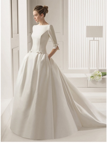 A-Line Wedding Dresses Bateau Neck Court Train Polyester Half Sleeve Sexy Plus Size_4