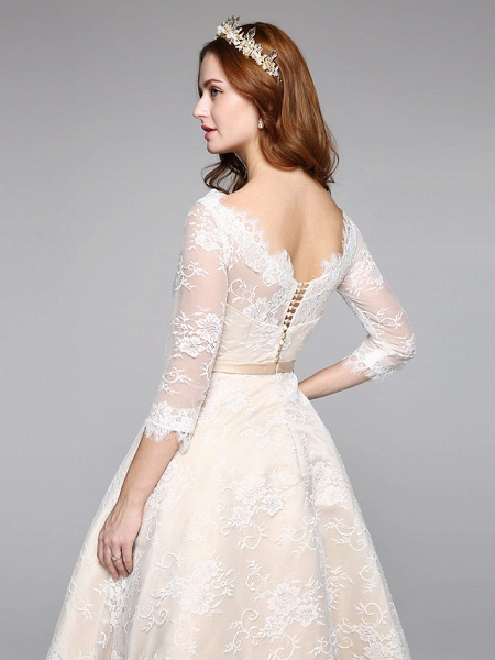 A-Line Wedding Dresses Bateau Neck Ankle Length Lace Over Satin 3\4 Length Sleeve Casual Boho See-Through Cute Illusion Sleeve_8