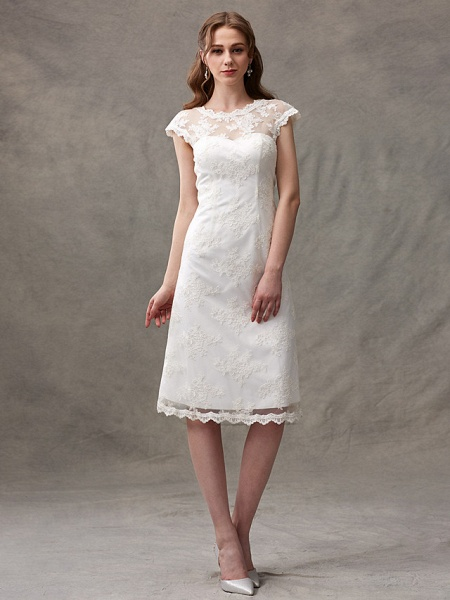 A-Line Wedding Dresses Jewel Neck Knee Length Floral Lace Cap Sleeve Casual See-Through Backless_5
