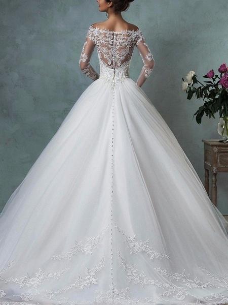 A-Line Wedding Dresses Off Shoulder Floor Length Tulle Long Sleeve Formal Plus Size_2