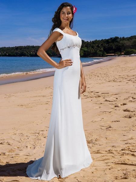 Sheath \ Column Wedding Dresses Scoop Neck Sweep \ Brush Train Chiffon Cap Sleeve Beach Plus Size_2