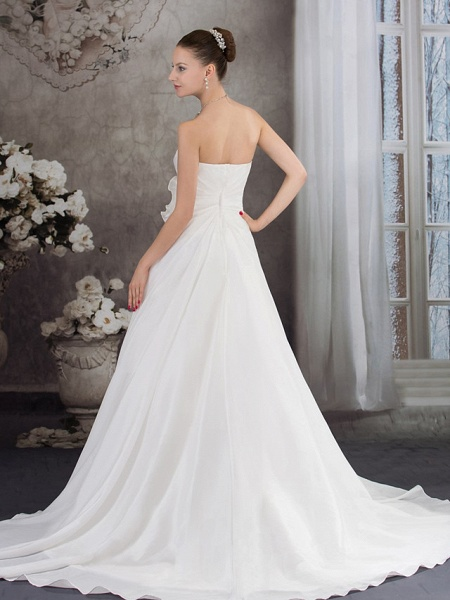 A-Line Strapless Chapel Train Taffeta Strapless Wedding Dresses_3