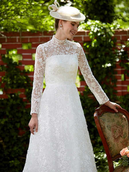 A-Line Wedding Dresses Illusion Neck Court Train All Over Lace Long Sleeve Floral Lace_10