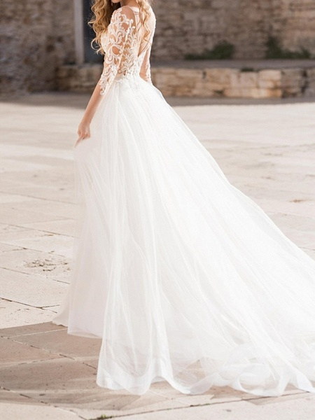 Sheath \ Column Plunging Neck Sweep \ Brush Train Polyester Long Sleeve Country Plus Size Wedding Dresses_2
