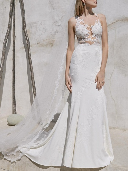 Mermaid \ Trumpet Wedding Dresses V Neck Sweep \ Brush Train Lace Satin Regular Straps Plus Size_1
