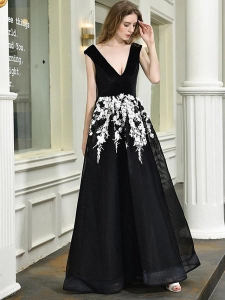 A-Line Wedding Dresses V Neck Floor Length Lace Tulle Regular Straps Sexy Black Modern_1