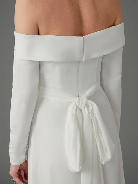 A-Line Wedding Dresses Off Shoulder Chapel Train Chiffon Tulle Long Sleeve Sexy_13
