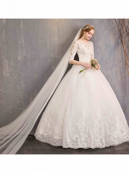 Ball Gown Wedding Dresses Bateau Neck Maxi Lace Tulle Half Sleeve Glamorous Illusion Sleeve_10