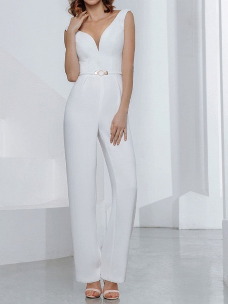 Jumpsuits Wedding Dresses V Neck Floor Length Stretch Satin Jersey Sleeveless Country Plus Size Backless_1