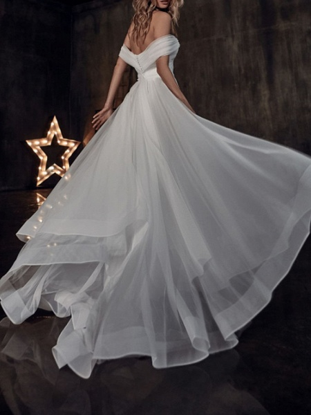 A-Line Wedding Dresses Off Shoulder Sweep \ Brush Train Tulle Short Sleeve Country Plus Size_1