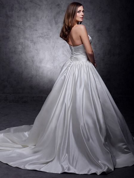 Princess Wedding Dresses Strapless Chapel Train Satin Sleeveless_2