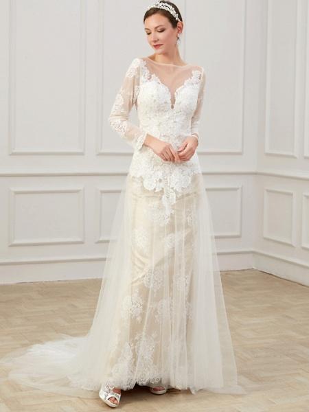 Sheath \ Column Wedding Dresses Jewel Neck Sweep \ Brush Train Lace Tulle Long Sleeve Formal Boho Plus Size Illusion Sleeve_1