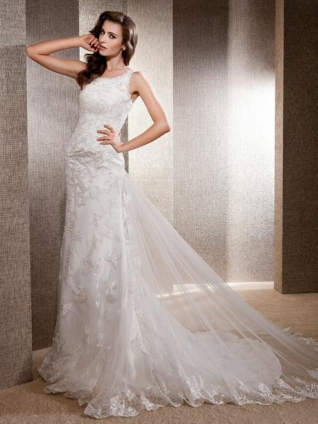 Mermaid \ Trumpet Wedding Dresses Scoop Neck Sweep \ Brush Train Lace Tulle Sleeveless_7
