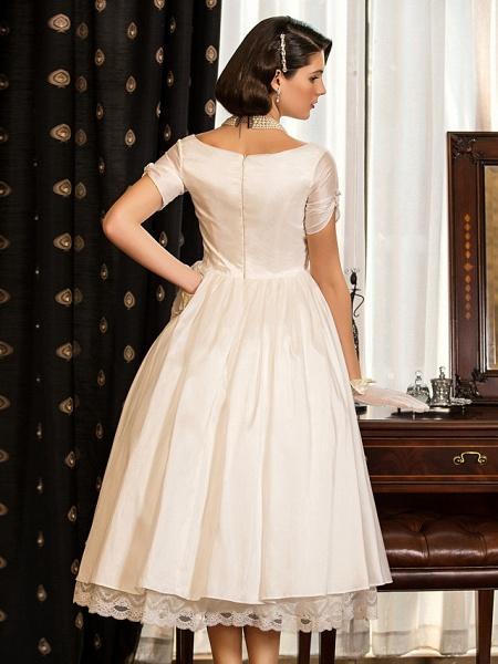 A-Line Wedding Dresses V Neck Tea Length Taffeta Short Sleeve Vintage Little White Dress 1950s_6
