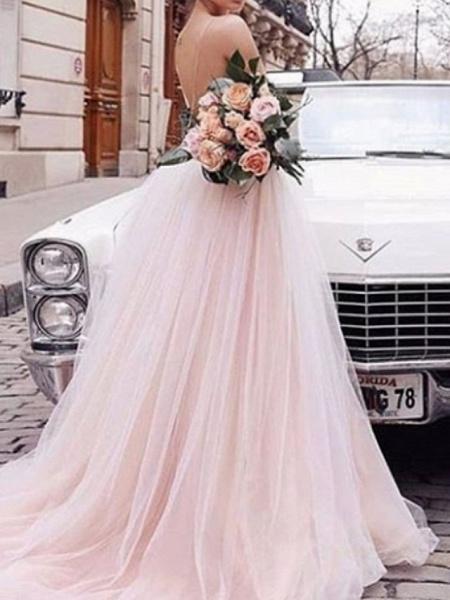 A-Line Wedding Dresses V Neck Court Train Chiffon Tulle Spaghetti Strap Boho_2
