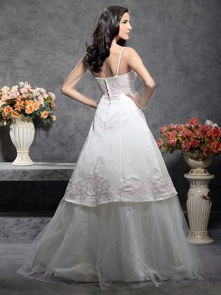 Princess A-Line Wedding Dresses Square Neck Floor Length Satin Tulle Spaghetti Strap Wedding Dress in Color_2