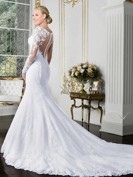 Mermaid \ Trumpet Wedding Dresses Bateau Neck Chapel Train Lace Tulle Lace Over Satin Long Sleeve Beautiful Back Illusion Sleeve_1