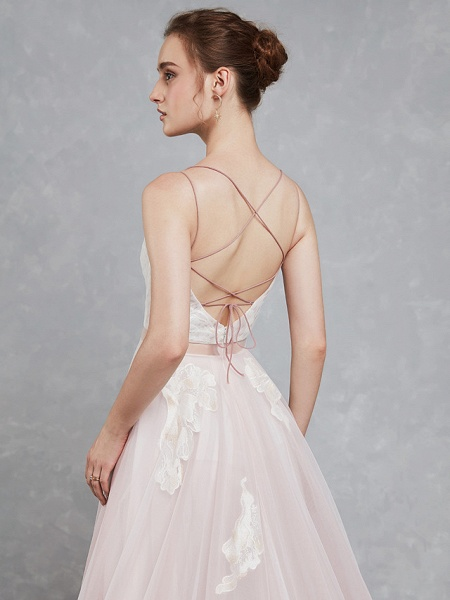 A-Line Wedding Dresses Sweetheart Neckline Court Train Lace Tulle Spaghetti Strap Beautiful Back_6
