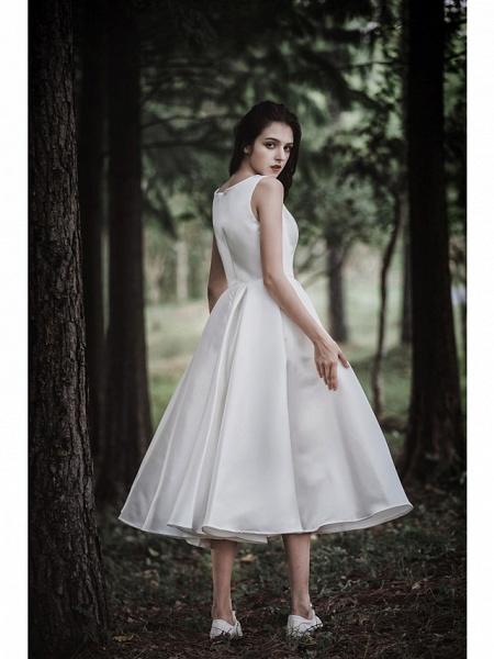A-Line Wedding Dresses Jewel Neck Tea Length Chiffon Over Satin Cap Sleeve Simple Casual Little White Dress_2