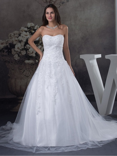 A-Line Strapless Court Train Lace Tulle Strapless Wedding Dresses_1