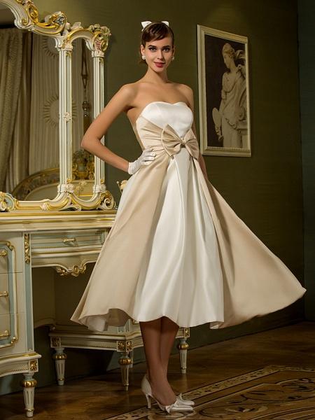 A-Line Wedding Dresses Sweetheart Neckline Tea Length Satin Strapless Casual Vintage Little White Dress Plus Size_3