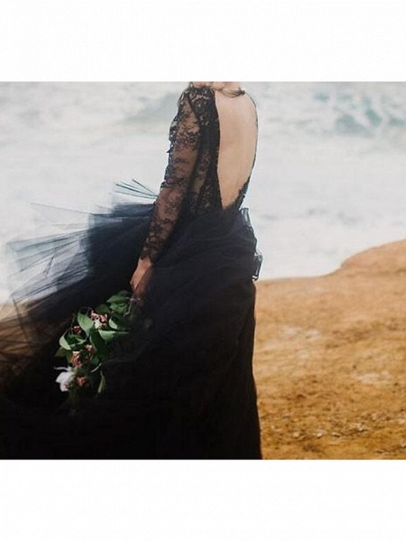 A-Line Wedding Dresses Plunging Neck Sweep \ Brush Train Polyester Long Sleeve Country Plus Size Black_3