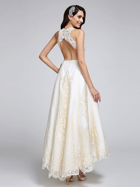 A-Line Wedding Dresses Jewel Neck Ankle Length Lace Over Satin Regular Straps Casual Boho Sexy Sparkle & Shine See-Through Backless_3
