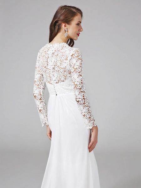 Sheath \ Column Wedding Dresses V Neck Sweep \ Brush Train Chiffon Floral Lace Long Sleeve Romantic Boho Illusion Sleeve_8