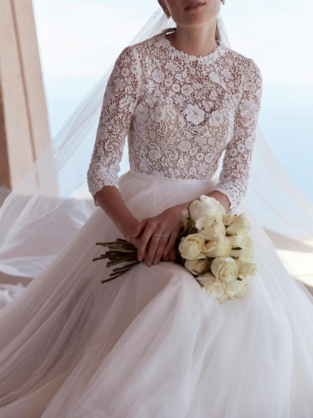A-Line Wedding Dresses Jewel Neck Sweep \ Brush Train Tulle Polyester 3\4 Length Sleeve Country Boho Plus Size_3