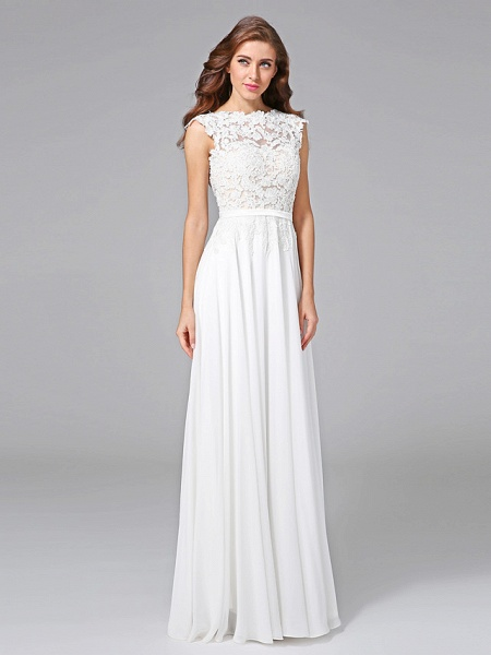 Sheath \ Column Wedding Dresses Bateau Neck Sweep \ Brush Train Chiffon Floral Lace Cap Sleeve Romantic Illusion Detail Backless_4