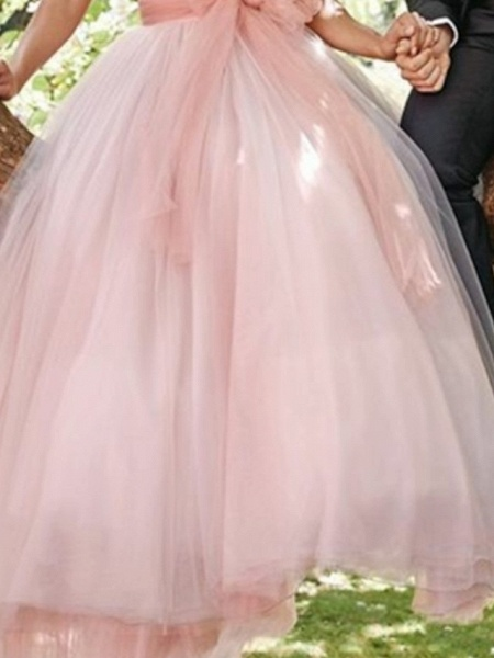 A-Line Wedding Dresses Strapless Sweep \ Brush Train Tulle Sleeveless Country Wedding Dress in Color_3