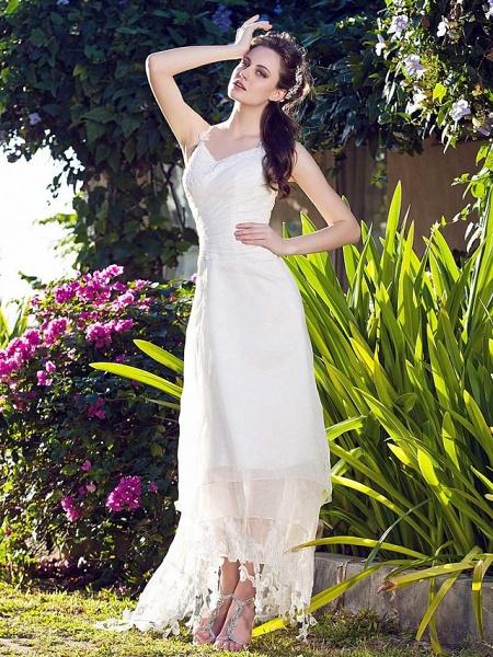 A-Line Wedding Dresses V Neck Asymmetrical Organza Spaghetti Strap_3