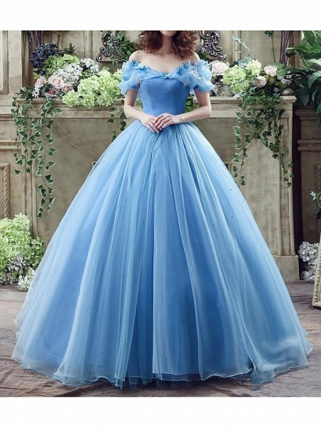 Ball Gown Wedding Dresses Off Shoulder Floor Length Polyester Short Sleeve Country Plus Size_2