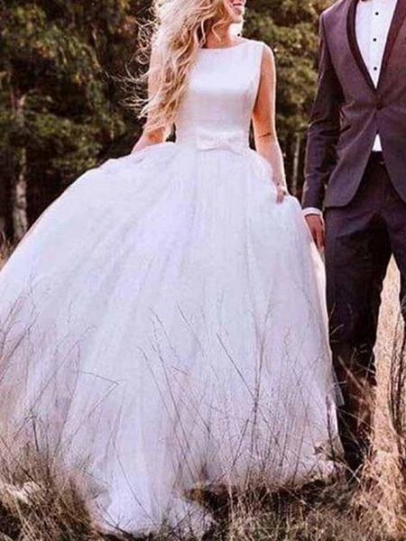 A-Line Wedding Dresses Bateau Neck Sweep \ Brush Train Tulle Regular Straps Romantic Plus Size_1