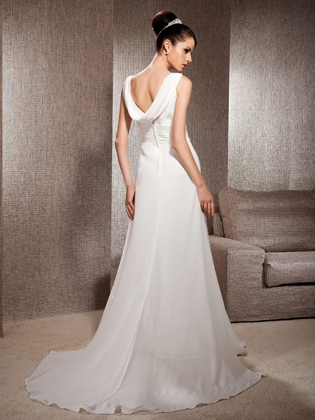 Sheath \ Column Scoop Neck Court Train Chiffon Sleeveless Wedding Dresses_4