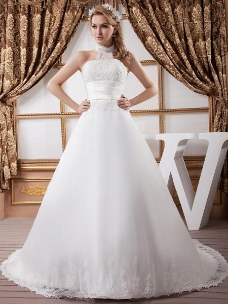 A-Line High Neck Court Train Lace Satin Tulle Regular Straps Wedding Dresses_1