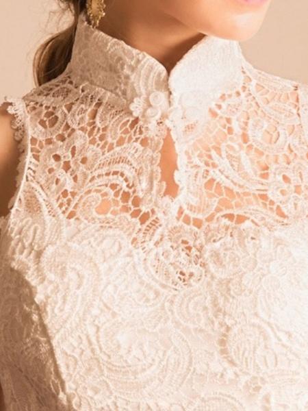 Mermaid \ Trumpet Wedding Dresses High Neck Ankle Length Lace Sleeveless Beach_2