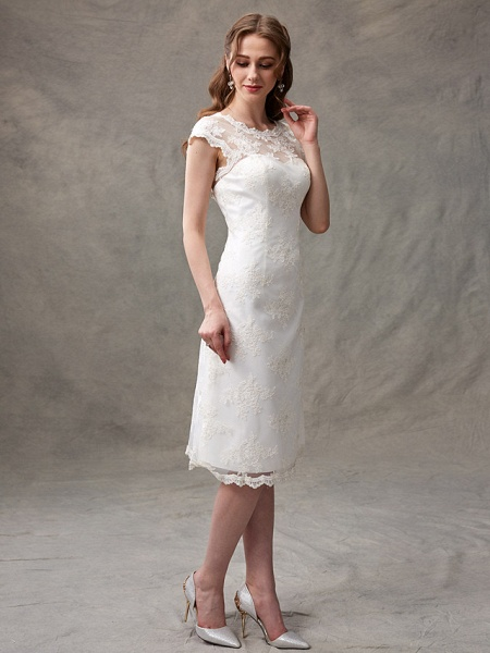 A-Line Wedding Dresses Jewel Neck Knee Length Floral Lace Cap Sleeve Casual See-Through Backless_8