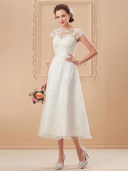 A-Line Wedding Dresses Bateau Neck Tea Length Organza Cap Sleeve Simple Casual Illusion Detail_11