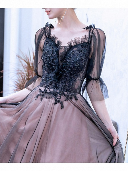 A-Line Wedding Dresses V Neck Sweep \ Brush Train Lace Tulle Half Sleeve Formal Black Modern Illusion Sleeve_3