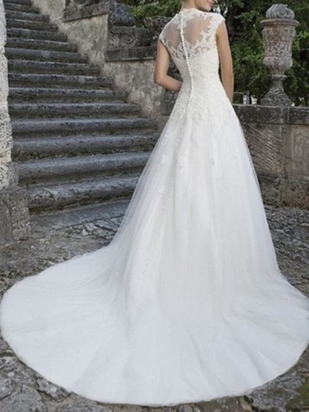 A-Line Wedding Dresses V Neck Floor Length Tulle Regular Straps_2